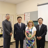 Deputy Minister Zhang Shijun, Trustee Michelle Draper and Superintendent Darrel Robertson