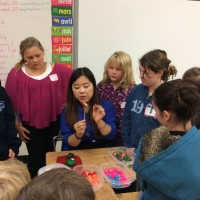 Teacher Molly Wu is demonstrating Dough Art at Landing Trail Intermediate School in Athabasca