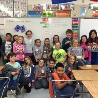 Teacher Molly Wu and her Dough Art Class Students at Landing Trail Intermediate School in Athabasca